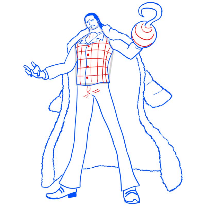 Learn easy to draw Crocodile One Piece step 14