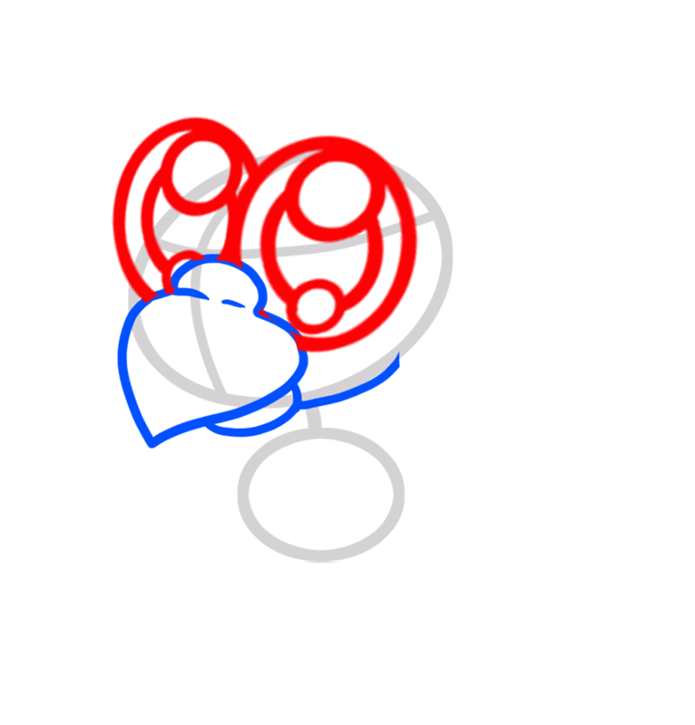 Learn easy to draw Cute Blue Parrot step 03