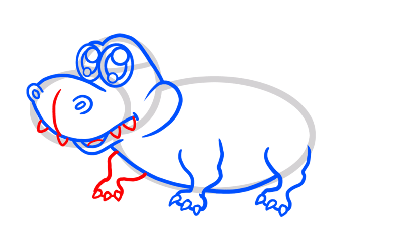 Learn easy to draw Cute Crocodile step 05