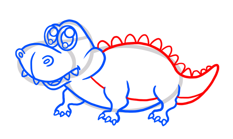 Learn easy to draw Cute Crocodile step 06