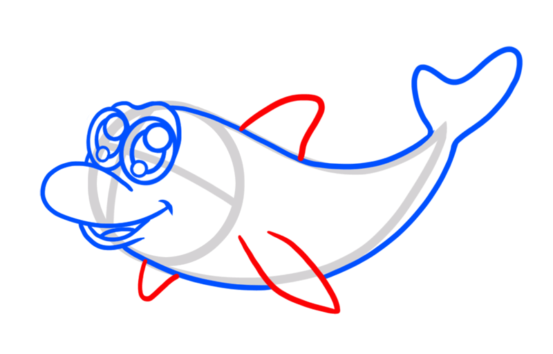 Learn easy to draw Cute Dolphin step 05