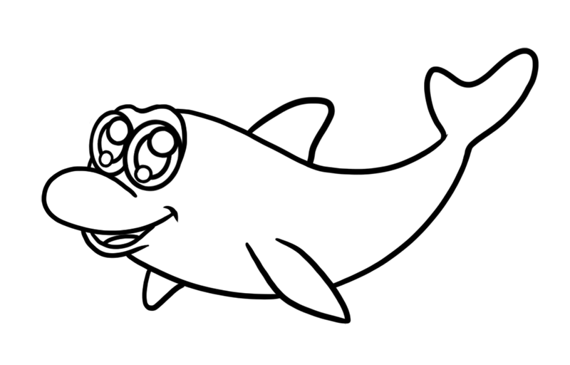 Learn easy to draw Cute Dolphin step 06