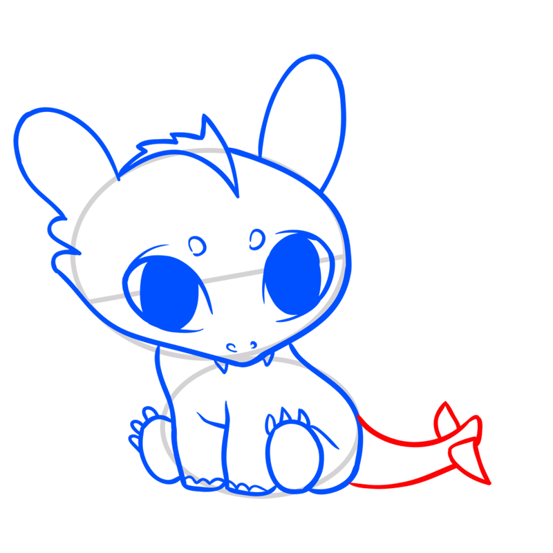 Learn easy to draw Cute Dragon step 07