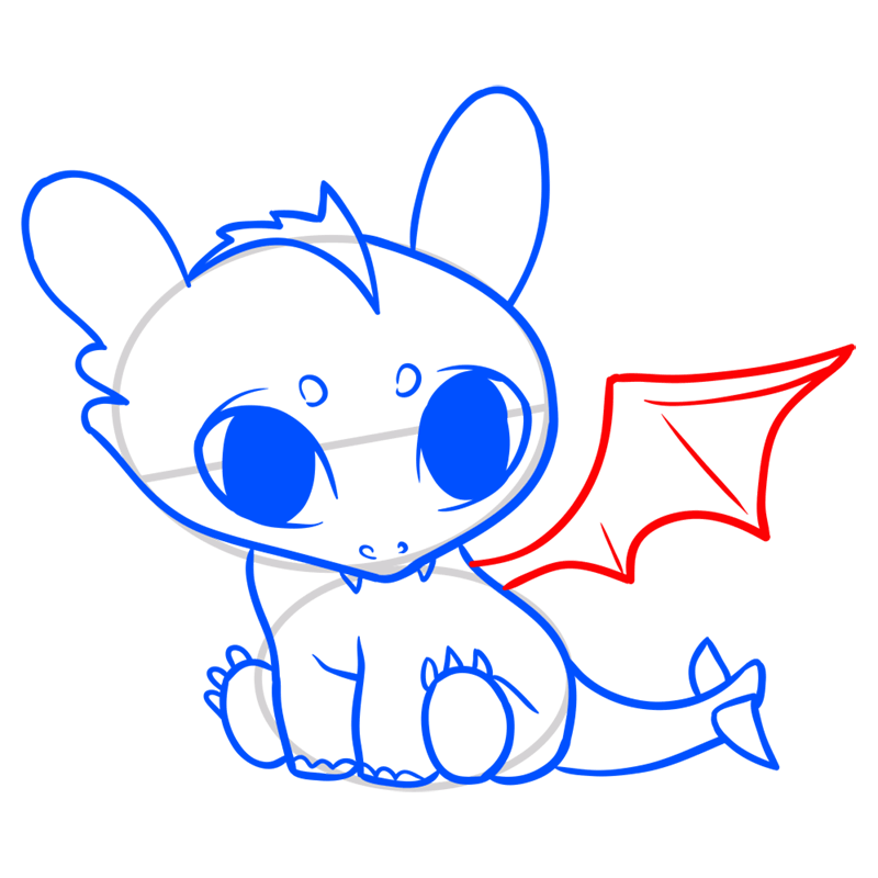 Learn easy to draw Cute Dragon step 08