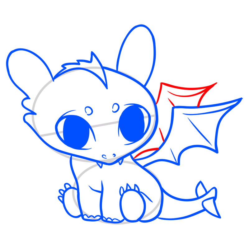 Learn easy to draw Cute Dragon step 09