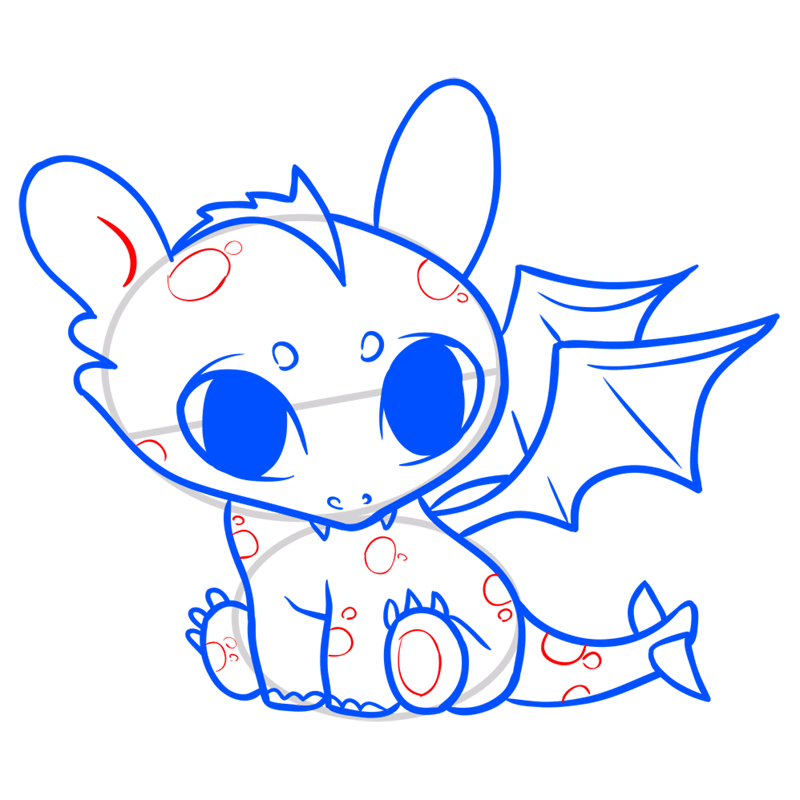 Learn easy to draw Cute Dragon step 10