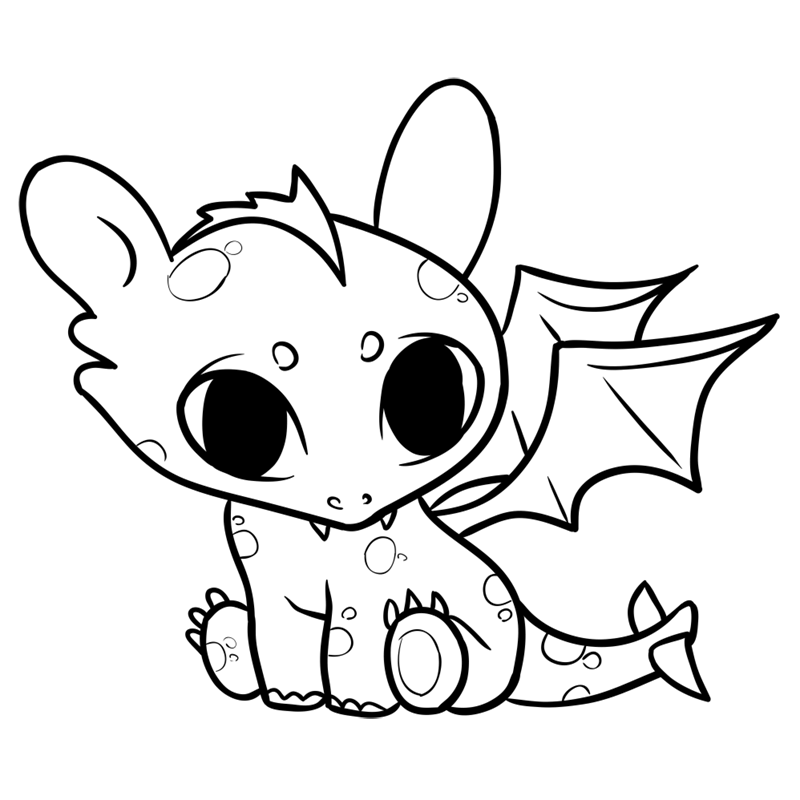 Learn easy to draw Cute Dragon step 11