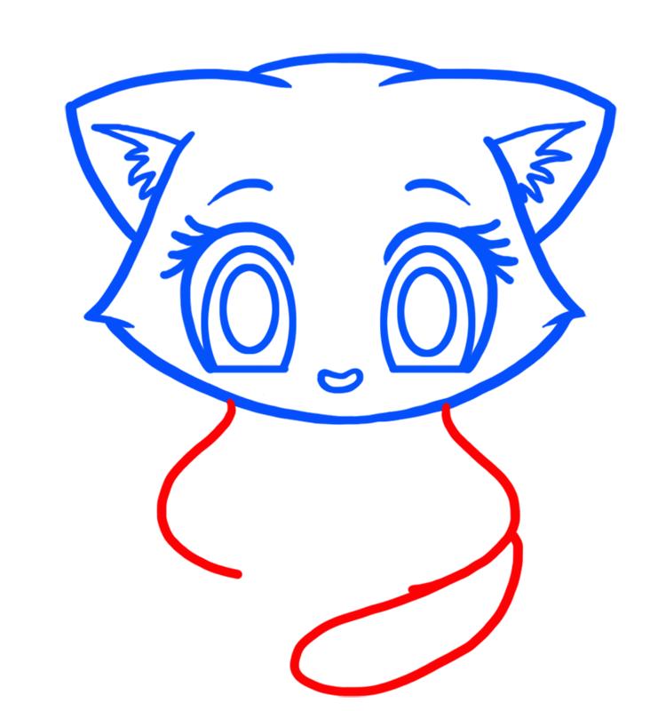 Learn easy to draw Cute Kitten step 03