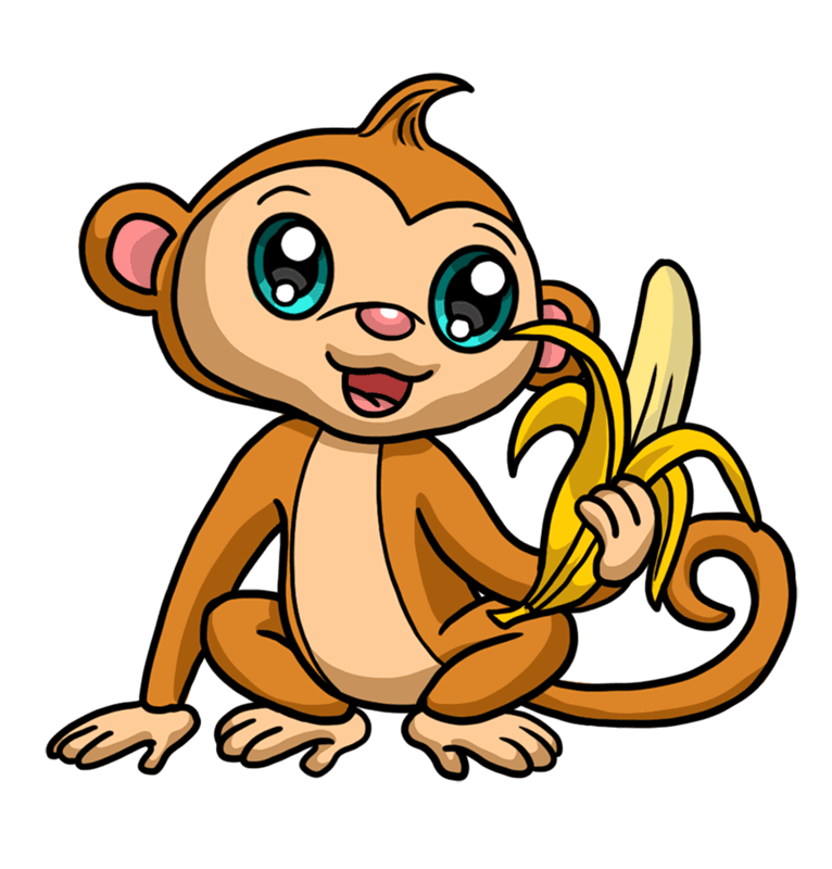 Learn easy to draw Cute Monkey step 00