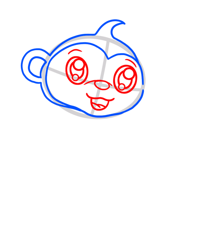 Learn easy to draw Cute Monkey step 03