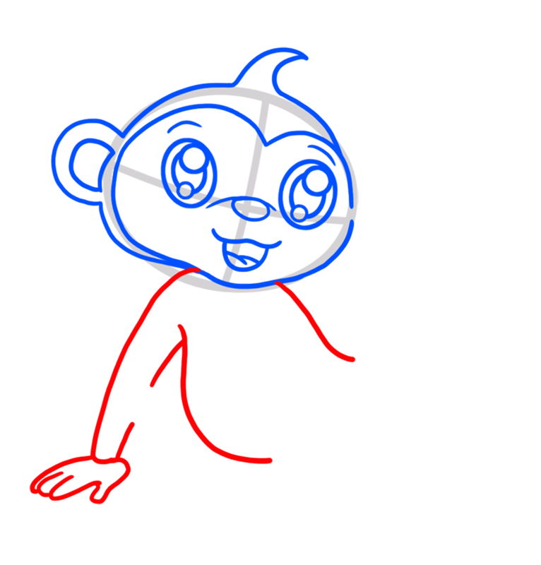 Learn easy to draw Cute Monkey step 04