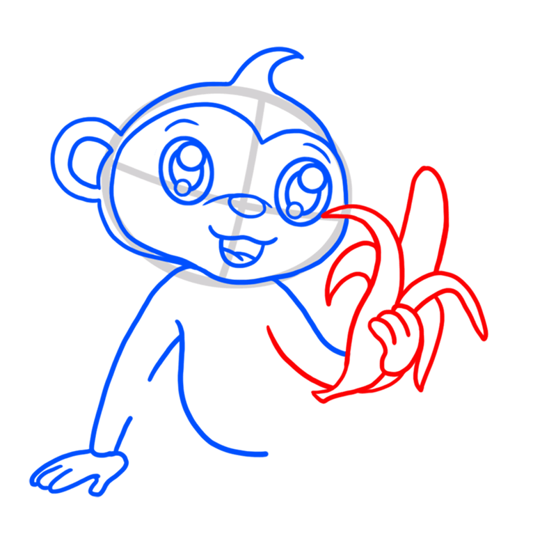 Learn easy to draw Cute Monkey step 05