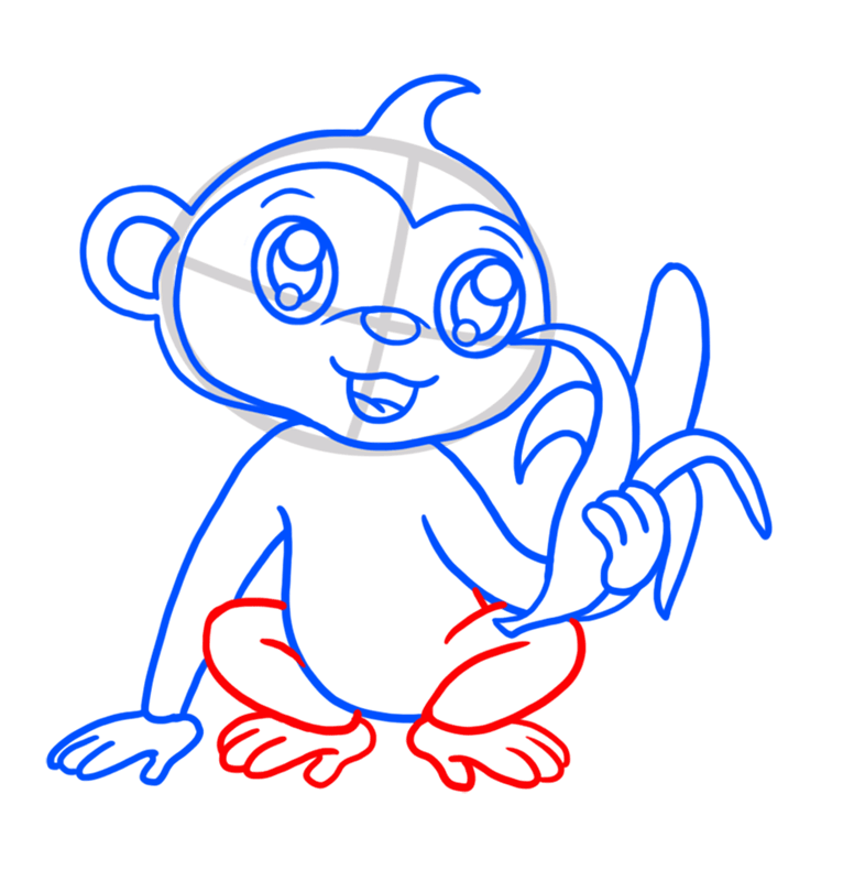 Learn easy to draw Cute Monkey step 06