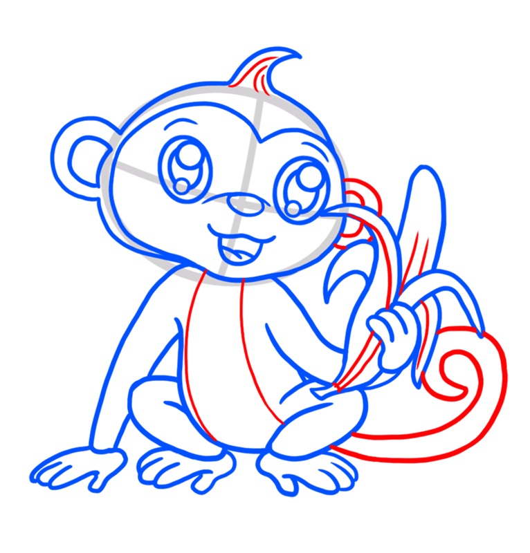 Learn easy to draw Cute Monkey step 07
