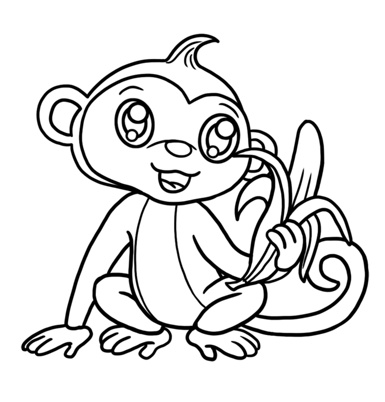 Learn easy to draw Cute Monkey step 08