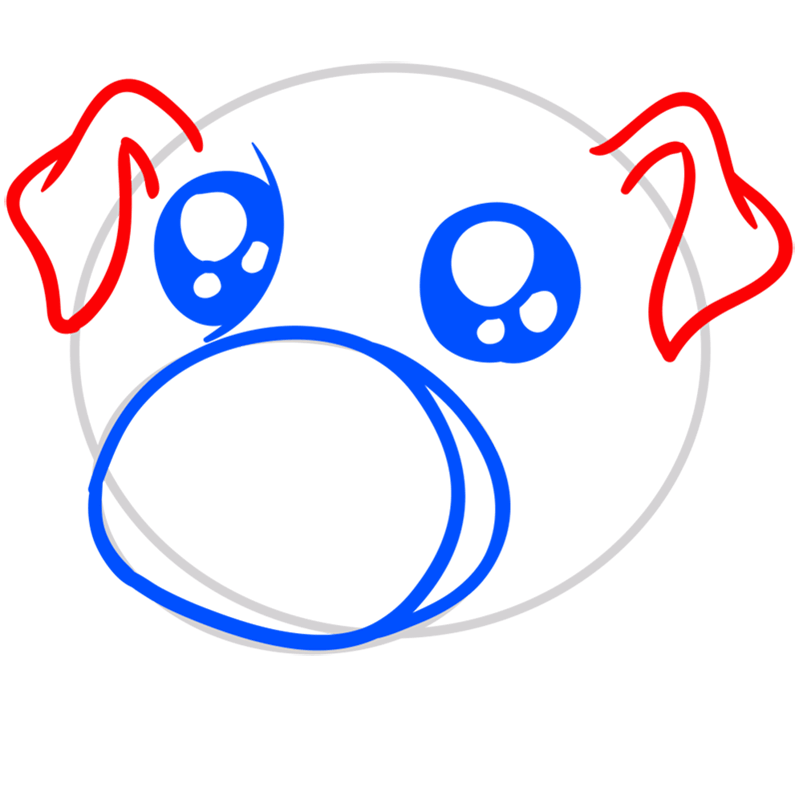 Learn easy to draw Cute Pig step 04