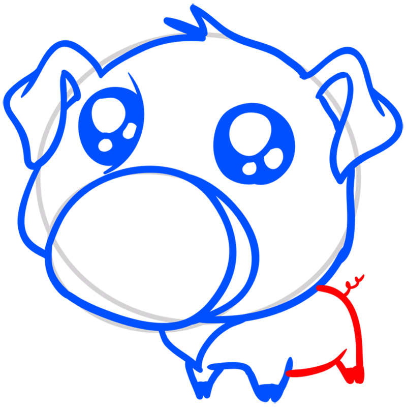 Learn easy to draw Cute Pig step 07