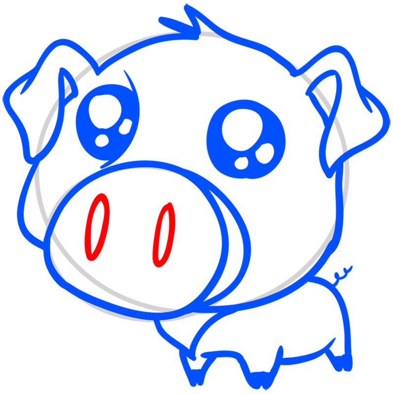 Learn easy to draw Cute Pig step 08