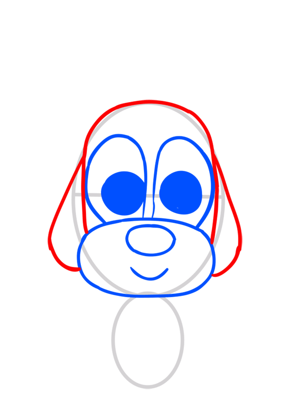 Learn easy to draw Dog in Hat step 04