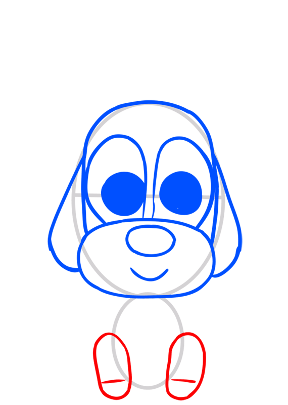 Learn easy to draw Dog in Hat step 05