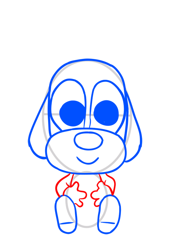 Learn easy to draw Dog in Hat step 06