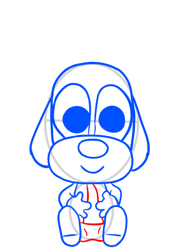 Learn easy to draw Dog in Hat step 07