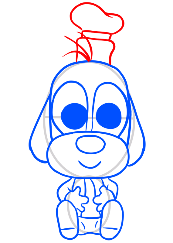 Learn easy to draw Dog in Hat step 08