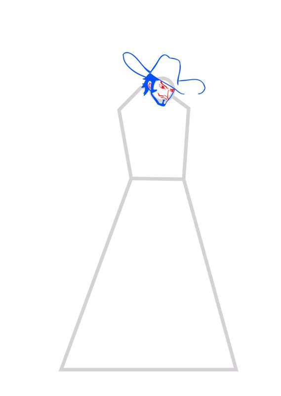 Learn easy to draw Dracule Mihawk One Piece step 04