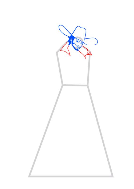 Learn easy to draw Dracule Mihawk One Piece step 05