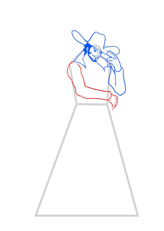 Learn easy to draw Dracule Mihawk One Piece step 07