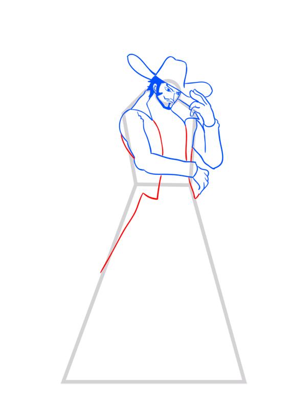 Learn easy to draw Dracule Mihawk One Piece step 08