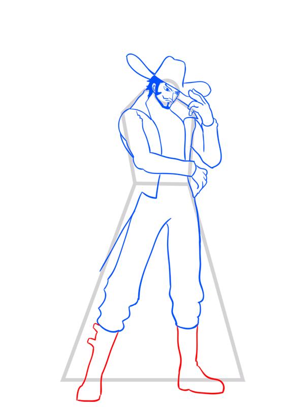 Learn easy to draw Dracule Mihawk One Piece step 10
