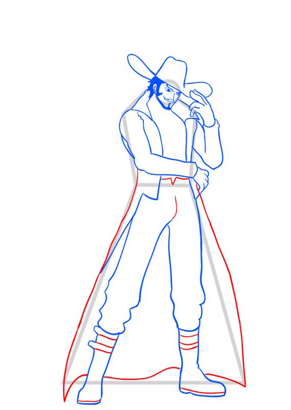 Learn easy to draw Dracule Mihawk One Piece step 11