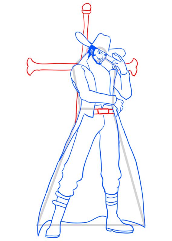 Learn easy to draw Dracule Mihawk One Piece step 12