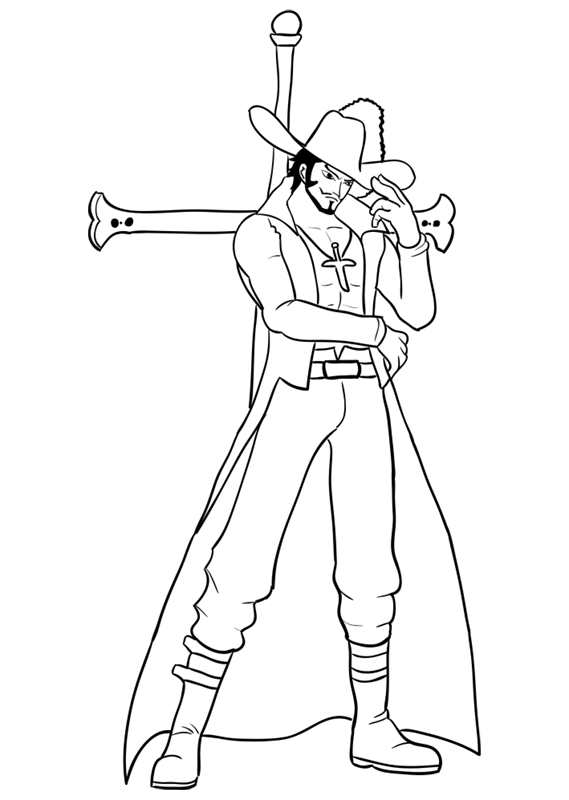 Learn easy to draw Dracule Mihawk One Piece step 14