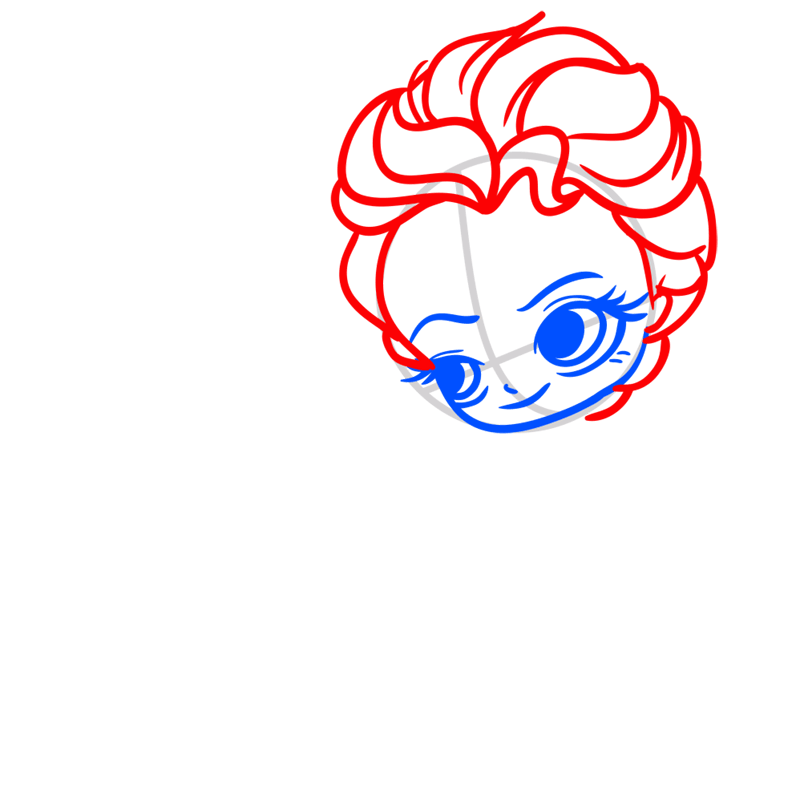 Learn easy to draw Elsa Queen Chibi step 03
