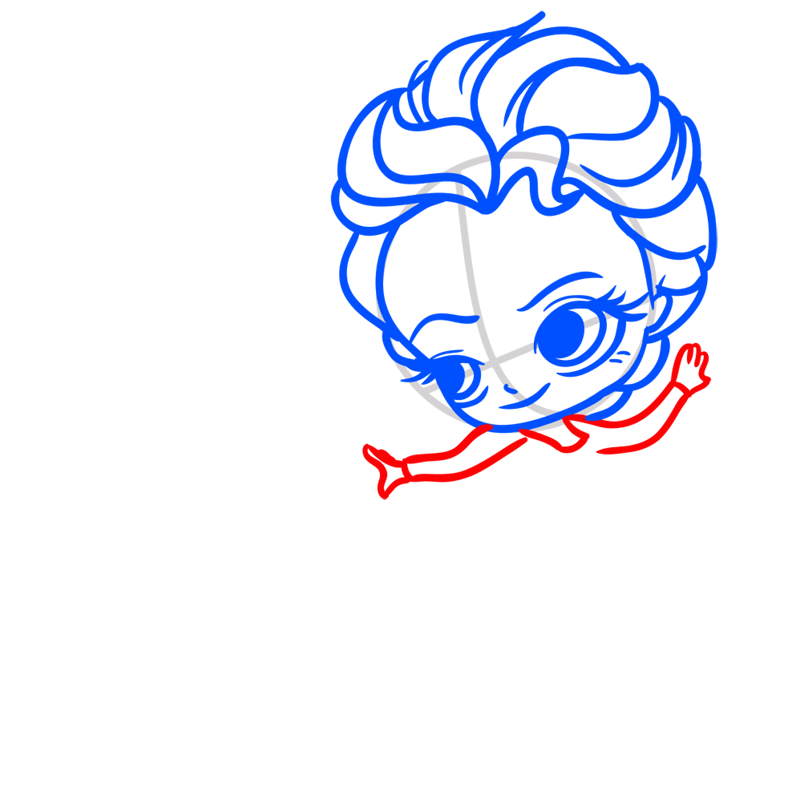 Learn easy to draw Elsa Queen Chibi step 04