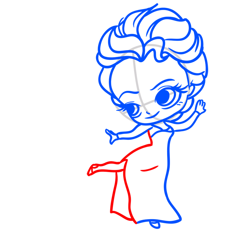 Learn easy to draw Elsa Queen Chibi step 06