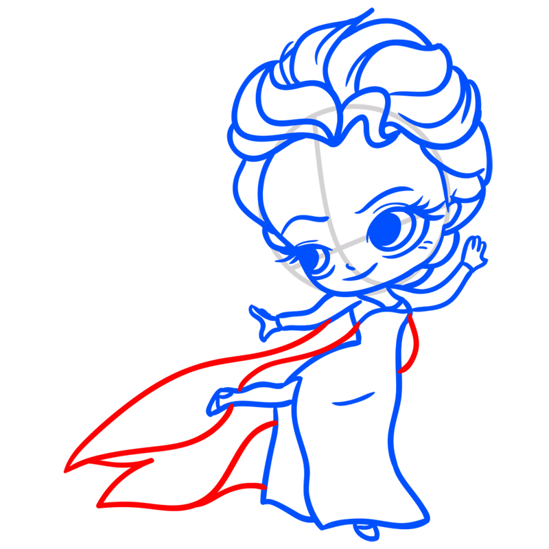 Learn easy to draw Elsa Queen Chibi step 07