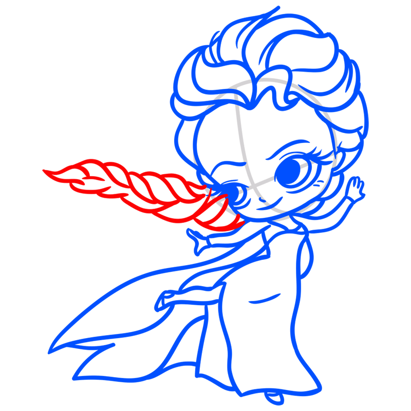 Learn easy to draw Elsa Queen Chibi step 08