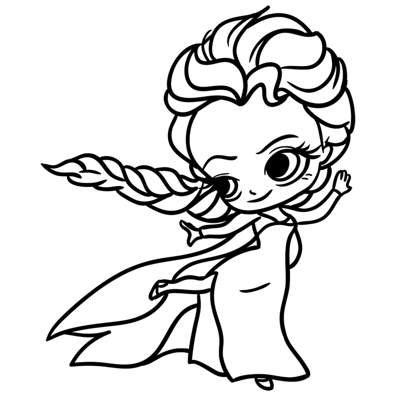 Learn easy to draw Elsa Queen Chibi step 09
