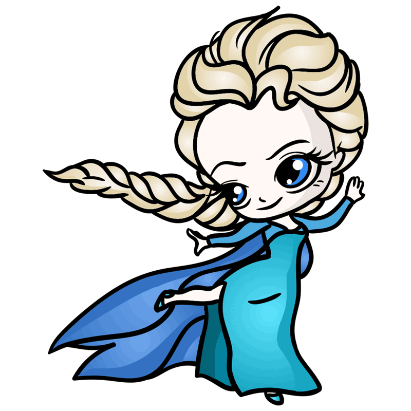 Learn easy to draw Elsa Queen Chibi step 10