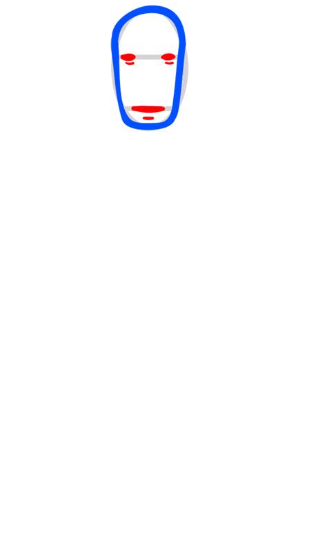 Learn easy to draw Faceles Kaonashi Ghibli Characters step 03