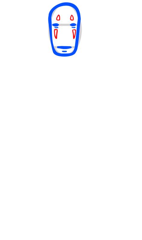 Learn easy to draw Faceles Kaonashi Ghibli Characters step 04