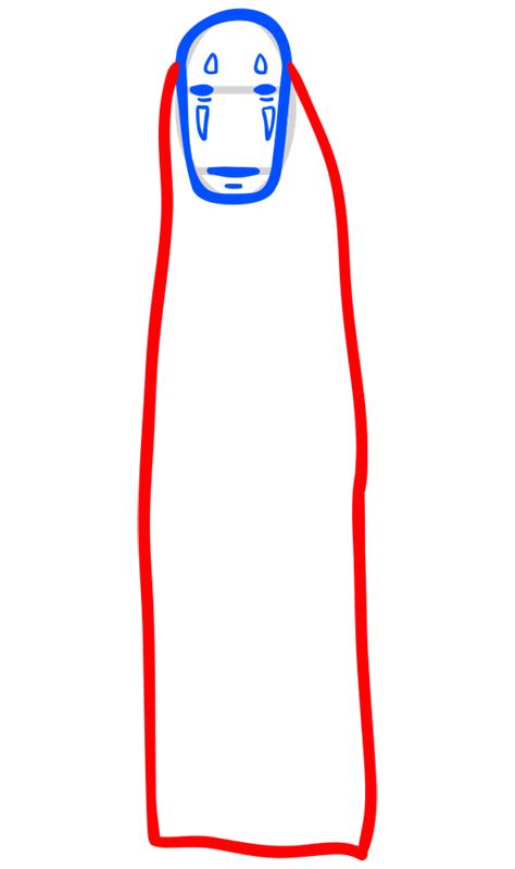 Learn easy to draw Faceles Kaonashi Ghibli Characters step 05
