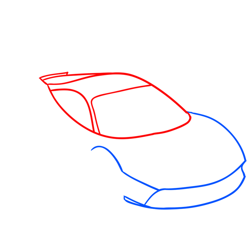 Learn easy to draw Ferrari 488 GTB step 02
