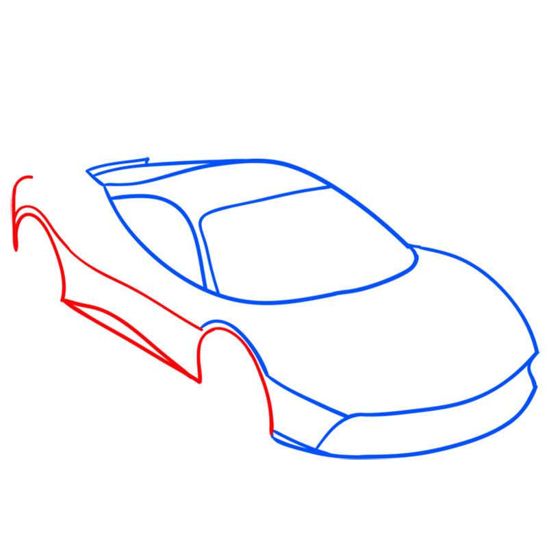 Learn easy to draw Ferrari 488 GTB step 03