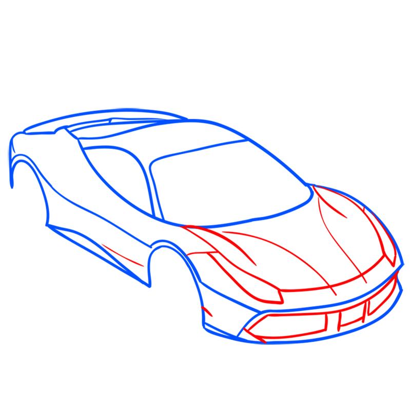 Learn easy to draw Ferrari 488 GTB step 05