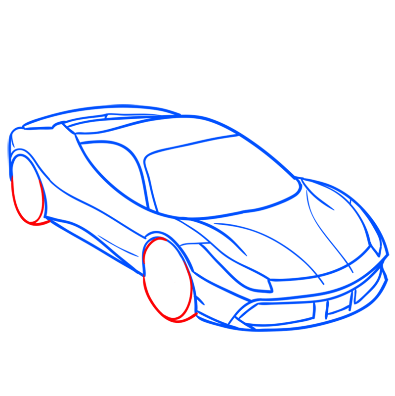 Learn easy to draw Ferrari 488 GTB step 06