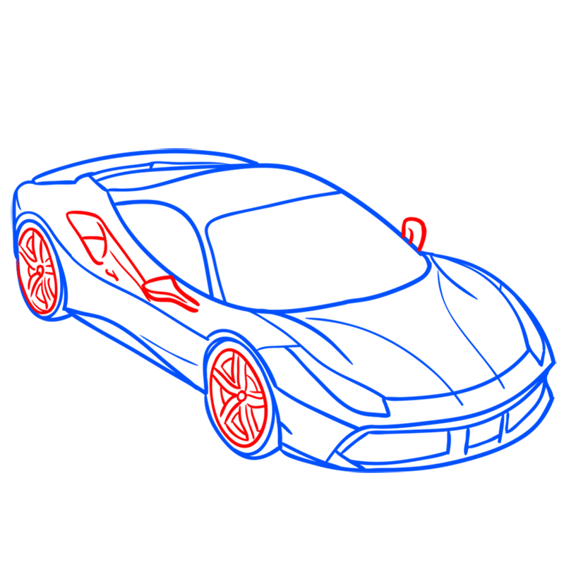 Learn easy to draw Ferrari 488 GTB step 07